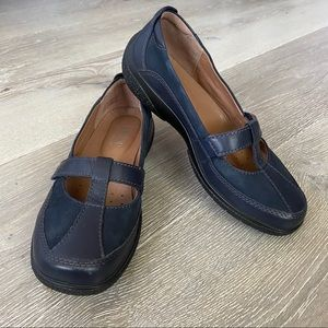 HOTTER Suede/Leather Dark Blue Mary Janes Size 6